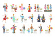 People Shopping For Clothes And Grocery Bright Color Cartoon Simple Style Flat Vector