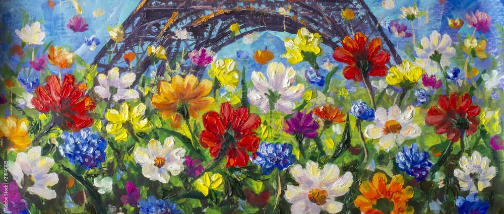Oryginalny ręcznie malowany obraz olejny o jasnych kwiatach wykonany z palety. Czerwone, żółte, niebieskie, fioletowe kwiaty abstrakcyjne. Makro malowanie impastowe. <span>plik: #218461115 | autor: weris7554</span>