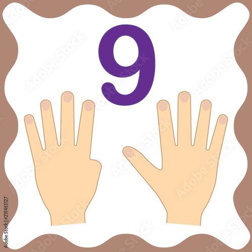 Fotografia  Number 9 (nine), educational card, learning counting with fingers of hand, mathematics