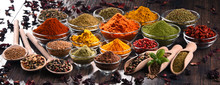 Variety Of Spices And Herbs On...