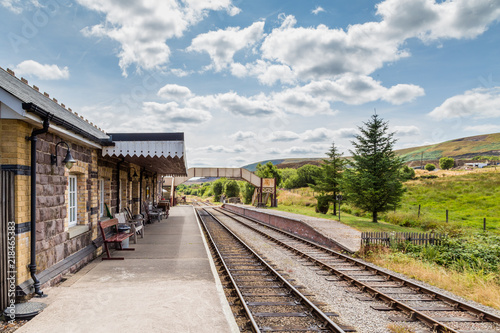 Landscape with Heritage railway station Pontypool and Blaenavon, Wales, UK. The traIn rides to BIg Pit National Coal museum and along Garn Lakes.