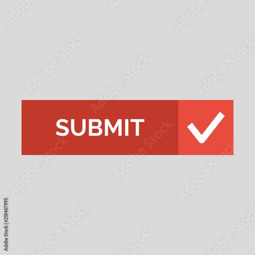 Fotografía  Submit flat button on grey background.