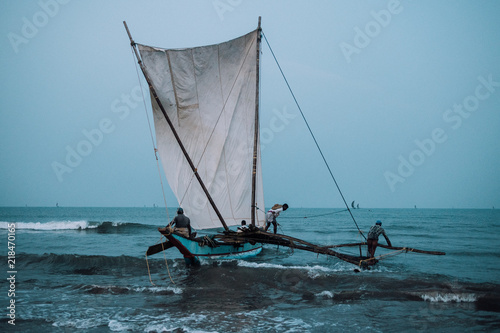 Foto op Canvas Fishermen at dawn in Asia