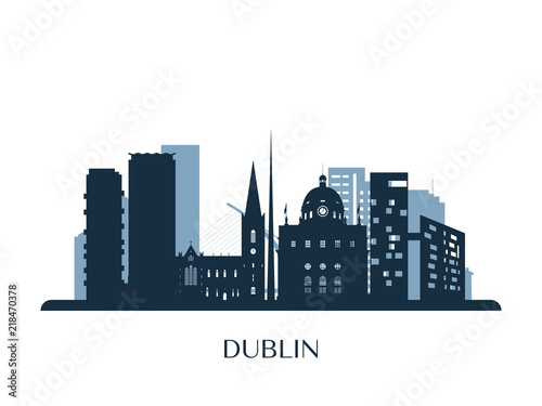 Photo Dublin skyline, monochrome silhouette. Vector illustration.
