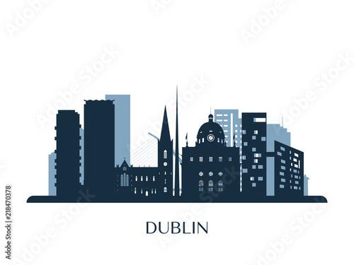 Dublin skyline, monochrome silhouette. Vector illustration. Canvas Print