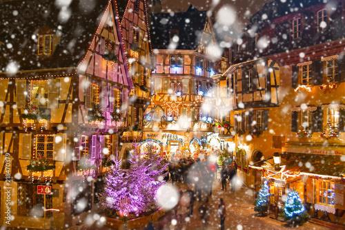 Colmar Christmas Markets France.Christmas Market Under The Snow In France In Colmar Near
