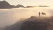 Horseman standing at fog covered mountain cliff waiting for tourist at sunrise, timelapse clip, Bromo