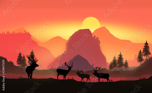 landscape with silhouettes of mountains, trees and four deer at sunset