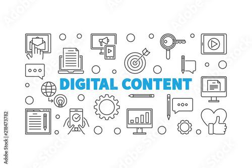 Fotografia Digital Content outline vector horizontal illustration