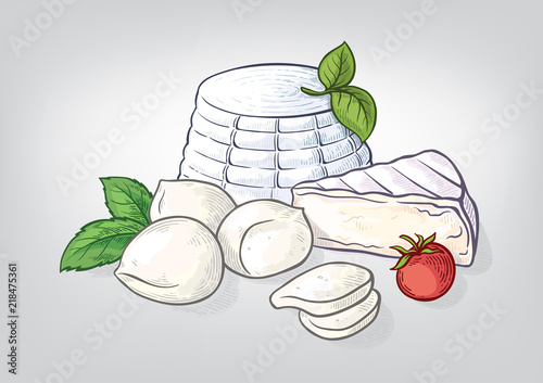 Fototapeta Cheese ricotta mozzarella hand drawn watercolor set. Vector illustration obraz