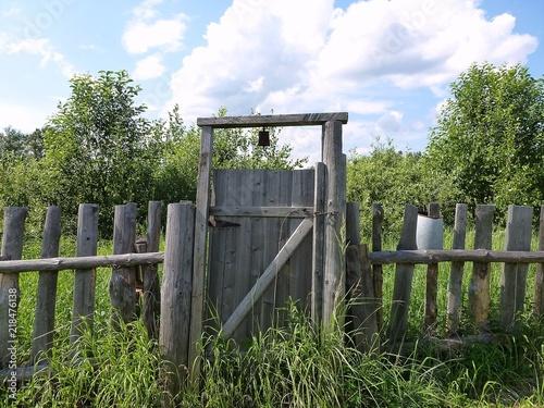 Photo Заросшая высокой травой калитка в ограде забора