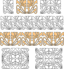 Vector Design Elements In Art Nouveau Style