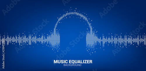 Sound wave Music Equalizer background, audio visual headphone icon Wallpaper Mural
