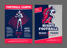 American Football Game And Camp Posters, Flyer With Football Player - Template Vector Design