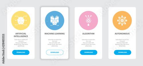 Artificial Intelligence 4 webpage banners concept template with Artificial Intelligence, Machine learning, Algorithm, Autonomous icons. Trendy web UI design concept
