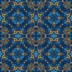 Blue Seamless Pattern Oriental Design