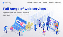 Web Page Design Template For Web Studio In The Modern 3d Isometric Style. Choosing And Buying A Domain, Hosting For A Site, Site Builder. People Are Busy With Work. Vector Illustration
