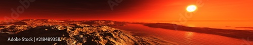 Foto auf Leinwand Rot A beautiful Martian landscape at sunrise. Panorama of Mars. 3D rendering
