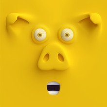 Cartoon Funny Pig Face. Cute Character Head, Symbol Of 2019 Year. 3d Render.
