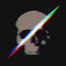 Human Skull In Distorted Glitc...
