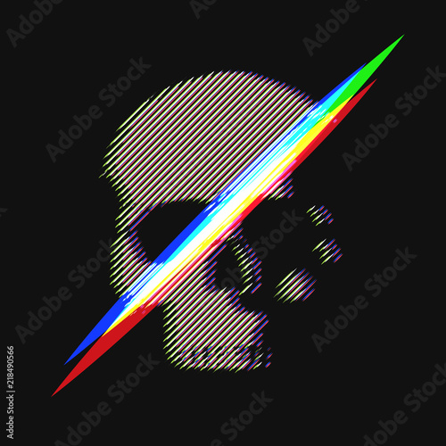 Photo Human skull in distorted glitch style on black background