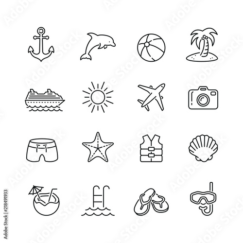 holiday and summer related icons thin vector icon set black and white kit buy this stock vector and explore similar vectors at adobe stock adobe stock adobe stock