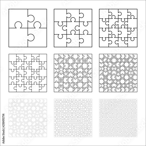 Large Set Of White Puzzles Pieces In Square Shape Jigsaw Puzzle Template Ready For Print Cutting Guidelines On