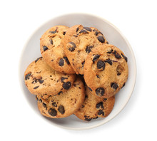 Plate With Chocolate Chip Cookies On White Background, Top View