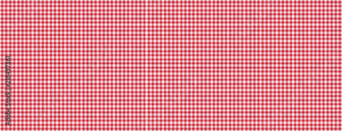 Obraz na plátně Red white checkered picnic tablecloth texture background, banner