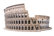 Colosseum, Coliseum Isolated On White. Symbol Of Rome And Italy,