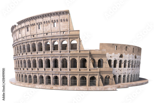 Canvastavla Colosseum, Coliseum isolated on white. Symbol of Rome and Italy,