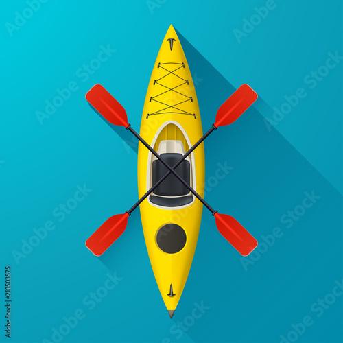 Vászonkép kayak on blue background