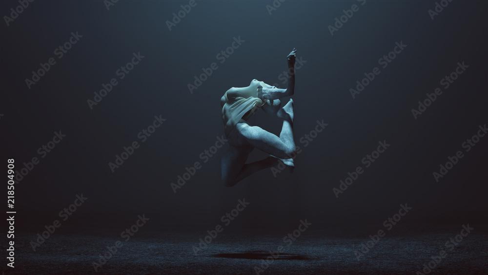 Fototapety, obrazy: Leaping Falling Floating Evil Spirit in a foggy void 3d Illustration 3d render