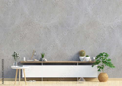 Fototapeta Modern interior design in Scandinavian style. Mock up wall. 3D illustration. obraz