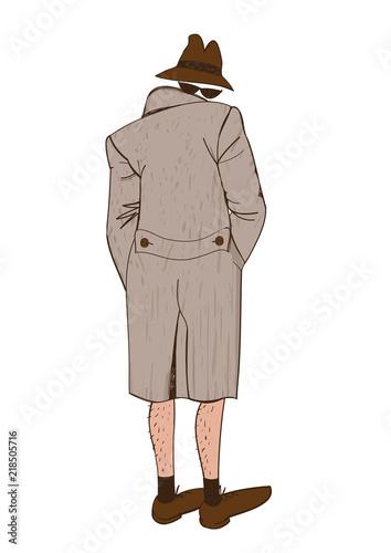 Photo  Suspicious man. Funny original creative illustration
