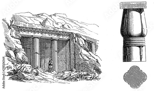 Foto Beni-Hassan grave and burial chamber in medium Egypt,  and egyptian lotus pillar