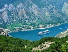 Cruise Ships At Tender In Kotor Bay