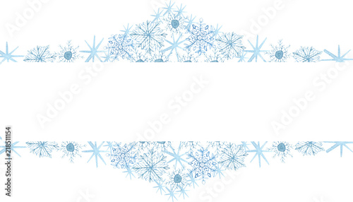 winter border with blue snowflakes on white background hand painted horizontal illustration for happy