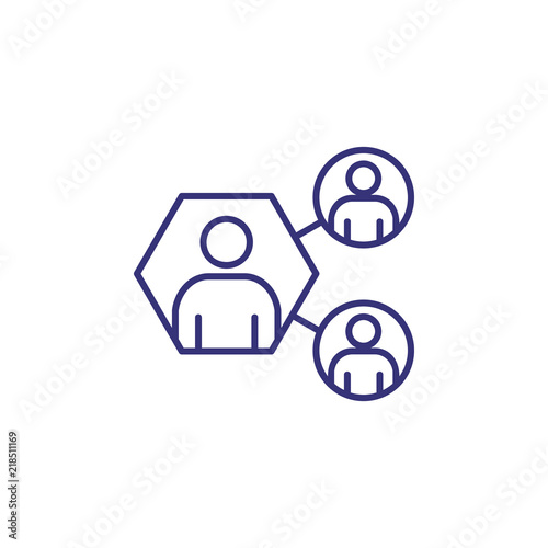 People contact line icon  Team, teamwork, link, scheme, chain