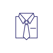 Shirt And Tie Line Icon. Suit,...