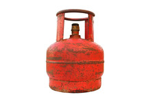 Old Gas Cylinder For 5 Liters. Close-up. Isolated On White Background. Isolate.
