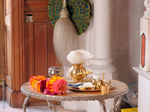 Set for worship of indian god godess idol arati with pancha pradip