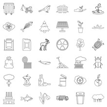 Poison Icons Set. Outline Styl...