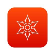 Ninja Shuriken Star Weapon Icon Digital Red For Any Design Isolated On White Vector Illustration