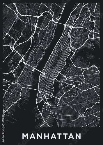 New York Map Black And White.Dark Manhattan New York Map Road Map Of Manhattan Nyc Black