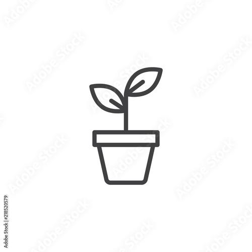 Valokuvatapetti Potted plant outline icon