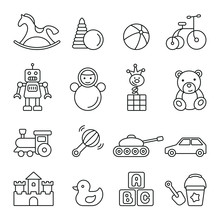 Baby Toy Related Icons: Thin Vector Icon Set, Black And White Kit