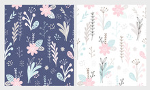 Cute Hand Drawn Floral Vector Patterns. Pastel Blue Flowers, Light Grey Leaves And Twigs Isolated On A Dark Blue And White Backgrounds. Infantile Style Floral Print.