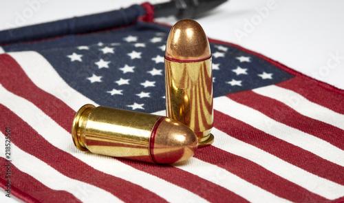 Cuadros en Lienzo Bullelts on an American Flag