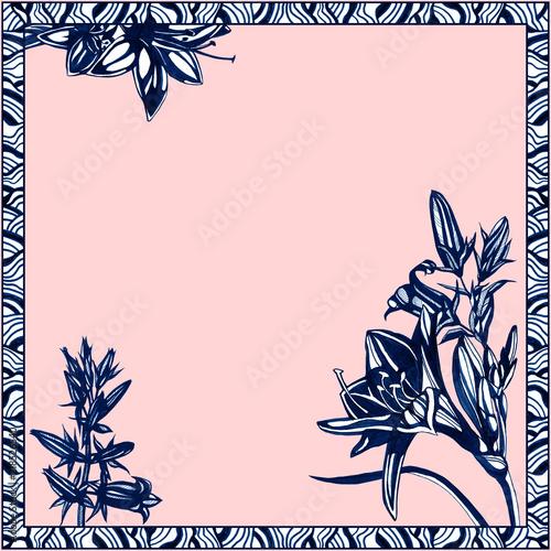 Fototapeta Awesome flowers frame. Hand drawn ink illustration. obraz na płótnie